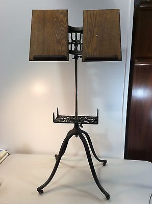 Victorian Music Stand Cast Iron And Oak Adjustable Artist Easel 1800's D6