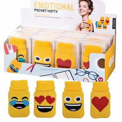 POCKET HOTTY - EMOJI - Yellow Soft Touch Cover Pocket Reusable Hand Warmer **NEW