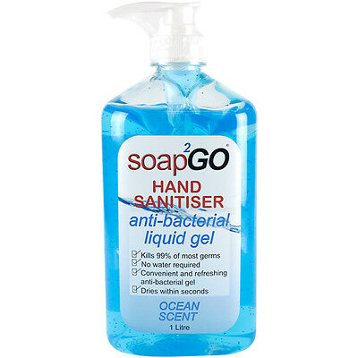 Soap2Go Hand Sanitiser Anti-Bacterial Liquid Gel 1 Litre Pump Ocean Scent