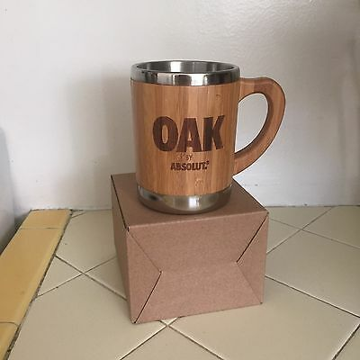 NEW ABSOLUT Vodka OAK Promotional Moscow Mule Mug Coffee Wood & Stainless