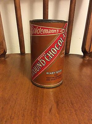 Vintage Boldemann's Sweet Ground Chocolate Tin Rare