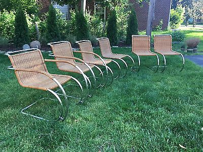 Mies Van Der Rohe Dining Chair Set MR20 MR10 Cantilever Chrome Cane Wicker Chair