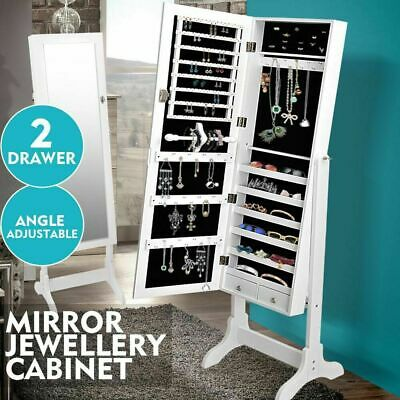 Mirror Jewellery Standing Cabinet Makeup Storage Jewelry Organiser Box Tall