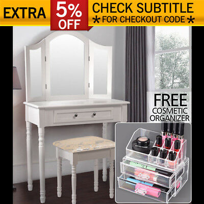 Makeup Dressing Table Stool 3Mirror Jewellery Cabinet Drawers + FREE Organizer