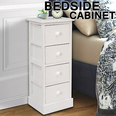 Tall White Wooden Four Drawer Bedside Table Storage Unit Slimline Cupboard