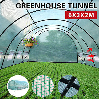 6X3X2M Walk In Greenhouse Green House Plant Shed PE Cover Arch Roof Tunnel Large