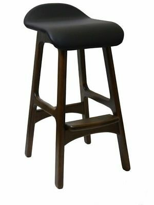 Kitchen Bar Timber Stool Wooden Cafe Stools Chocolate and Black Seat Anakee