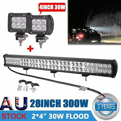 "28"" 300W PHILIPS Spot&Flood Led Work Light Bar+2x30W CREE Optional Driving Lamp"