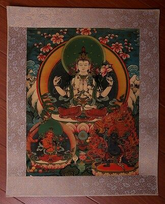 "Awesome Large Old Chinese Tibetan ""Thangka"" Paper Hand Painting GuanYin KK037"