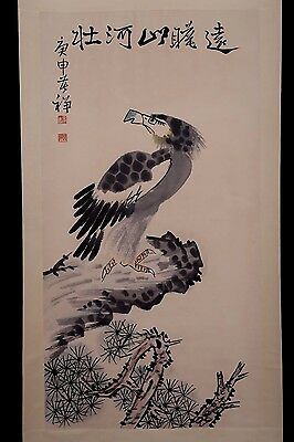 Unique Long Rare Old Chinese Paper Bird Wall Hanging Scroll Painting PP503