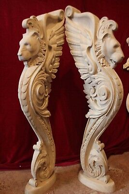 Wooden stairs Baluster, unique oak carved  gryphon statue, decorative element.
