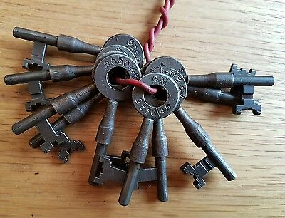 "RARE Old Group Of 10 Antique Vintage Keys | 2.5"" Numbered SUB Keys Ref M31"