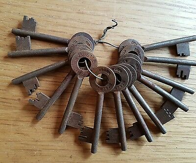 "RARE Old Group Of 13 Antique Vintage Keys | 2.5"" Numbered SUB Keys Ref M29"