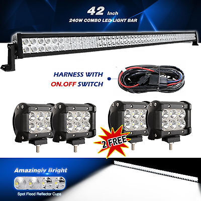 """42Inch LED Light Bar Combo 40in + 4x 4"""" CREE PODS OFFROAD SUV 4WD ATV FORD JEEP"""