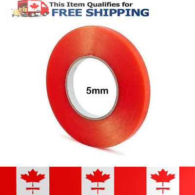 5mm x 25m Double Sided Red Adhesive Tape with a transparent polyester film