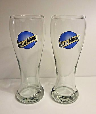 "Blue Moon Beer Glasses ~ 8"" Tall ~ Set of 2"