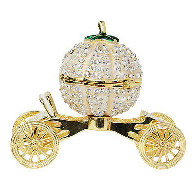Pumpkin Carriage Crystal Inlaid Trinket Jewelry Box for Ring Wedding Gift