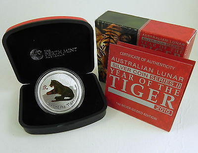 2010 YEAR OF THE TIGER GILDED LUNAR 1oz Silver Coin