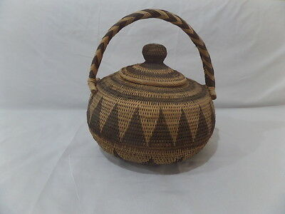 Vintage Papua New Guinea PNG Tribal Woven Cane Basket Storage Display