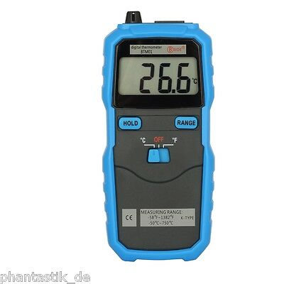 K Type Digital Thermometer with Thermocouple Probe C/F Switch LCD Display