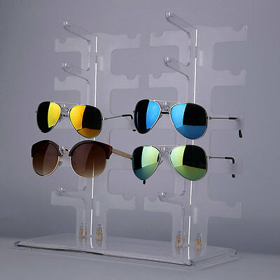 2 Row 10 Pairs Sunglasses Glasses Rack Holder Frame Display Stand Transparent CE