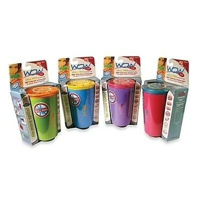 3 New WOW Juicy Spill Free Kids Cup & Lid 4 Colours BPA Free 360° Rim Non-Spill