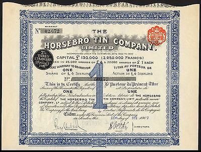 Cornwall: Horsebro Tin Company Ltd., 1 share of £4, 1907, parish of Altarnum