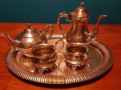 antique masonic silver plated tea set