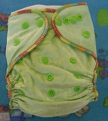 1 New Lime Bamboo Velour Cloth Diaper Nappy Adjustable 8-33lbs, Free Insert!