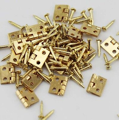 10pcs 8mm x 10mm Small Decorative Jewelry Cigar Box Hinges Brushed Brass Hinge