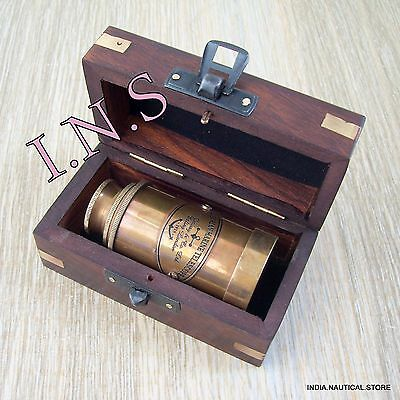 6''brass Antique Telescope With Wooden Box A Vintage Spyglass Gift