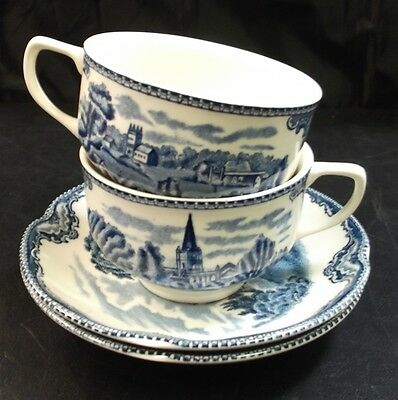 Johnson Brothers Pottery  Old Britain Castles 2 X Cups And Saucers      To