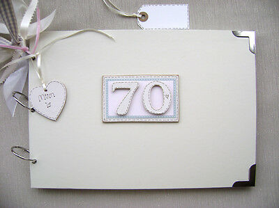 Personalised 70 80 90Th Birthday Pink A4 Size.photo Album/scrapbook/guest Book.