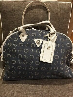 Guess denim blue/white signature overnight cabin travel bag