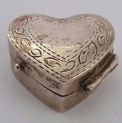Sterling silver Engraved Heart Shape Pill Box