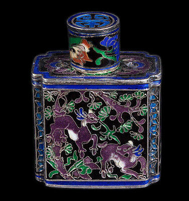 China 20. Jh Silber -A Chinese Silver & Canton Enamel Scent flask Chinois Cinese