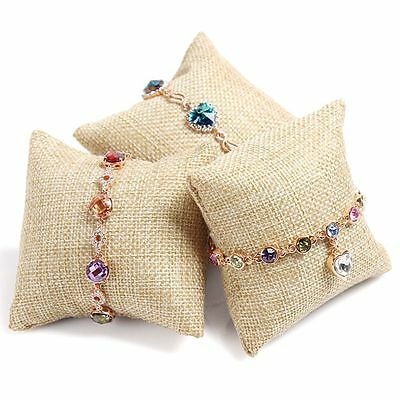 Beige Display Earring Holder Small Linen Pillow Watch Bracelet For Jewelry