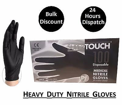 Strong Black Nitrile Gloves Powder Free Disposable Gloves Tattoo Mechanic 100