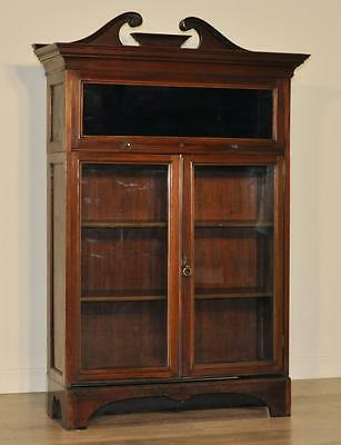 Attractive Large Vintage Mahogany Sectional Stacking Glazed Bookcase Cabinet
