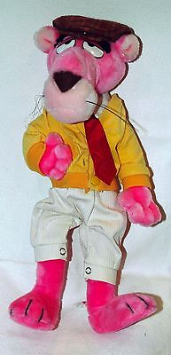 """Vintage Pink Panther Plush Cat Figure Touch of Velvet """"Mighty Star"""" 16"""" - RARE!"""