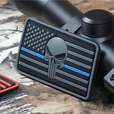 3D PVC Rubber Punisher Skull American Flag Military Tactical Morale Patch Badge