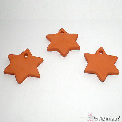 3 Bisque Ceramic Stars 4.5cm Handmade Ceramic Ornaments. Star Tiles from Clay