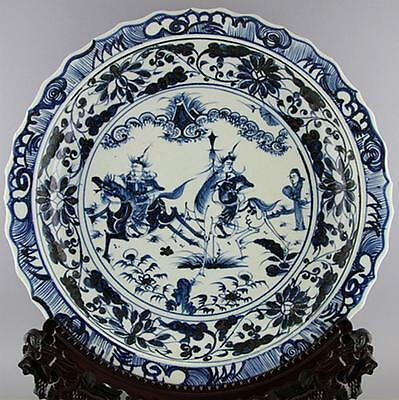 Chinese Blue and white figure figure big porcelain plate