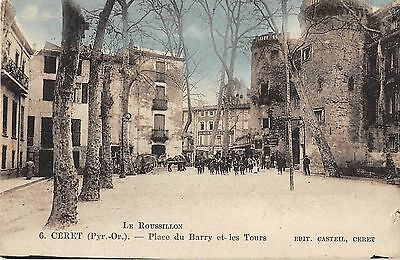 Cpa 66 Ceret Place Du Barry Et Les Tours