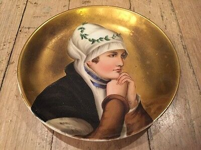 Antique Hand Painted Gold Porcelain Portrait Plate Charger