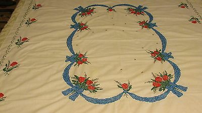 Vintage Hand Embrodiered Beautiful Tablecloth Size 69X52
