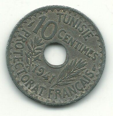 A Better Grade - 1941 Tunisia 10 Centimes Coin-May460