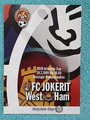 1999 - JOKERIT v WEST HAM UTD PROGRAMME - INTERTOTO CUP