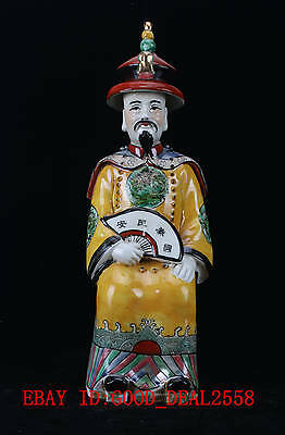 Chinese Porcelain Handwork Painted Emperor Statue