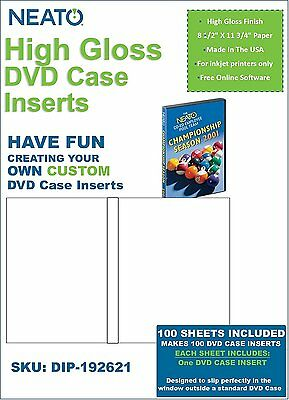 Neato High Gloss DVD Case Inserts - 100 Sheets to make 100 DVD Case Inserts